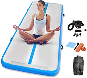 Gymnastics Inflatable Air Tumbling Mat 13Ft 16Ft 20Ft Track Air Mats With Electric Air Pump For Beach,Training,Cheerleading,Water Yoga (White+Pink, 19FT)