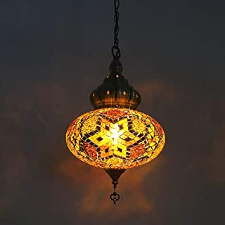 Turkish Lantern Pendant Lamp, Retro Handmade Mosaic Glass Chandelier, Moroccon Tiffany Style, Restaurant Romantic Bar Pendant Lights (Color : Gold)
