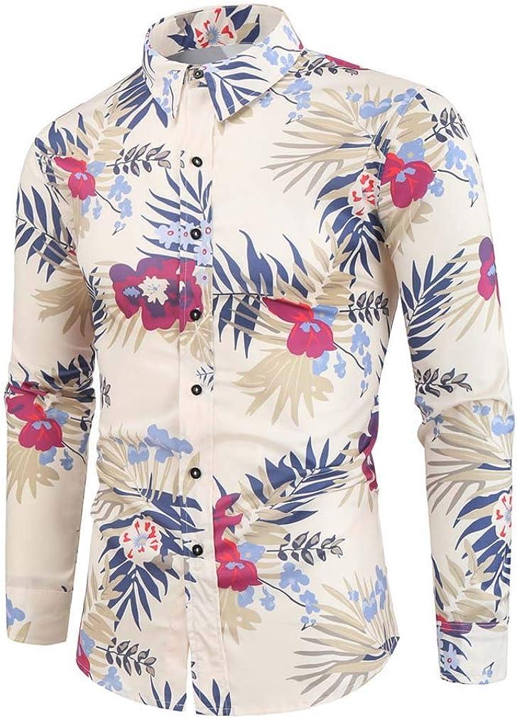 YD-zx Men's 3D Digital Printing Lapel Dress Shirt Slim Fit Casual Shirt Long Sleeve Button Down Shirts for Spring/Fall/Winter