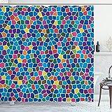 ABAKUHAUS Moderno Cortina de Baño, Diseño Mosaico Vivid, Material Resistente al Agua Durable Estampa Digital, 175 x 200 cm, Multicolor