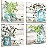 Flowers Painting Wall Art Watercolor-Style Blossoms in Mason Jar on Retro Wood Background Floral Print Artwork Canvas Picture for Bedroom Living Room