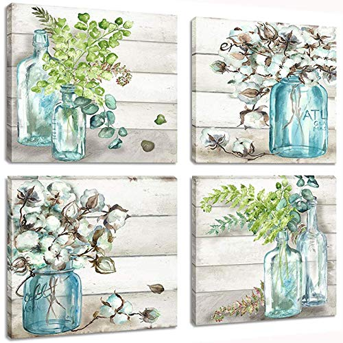 Skyme Art Flower Painting Wall Art Watercolor MasonJar Floral Picture Artwork 4 Panel Modern Oil Painting Print on Canvas for Bedroom Living Decor