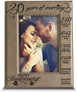 Bella Busta-20 Years of Marriage-1999-2019-Months, Weeks, Days, Hours, Weeks, Minutes, Seconds-20th Anniversary- Engraved Leather Picture Frame (4 x 6 Vertical)