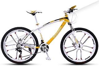 AP.DISHU 30-Speed All-Terrain Mountain Bike 26 Inch Wheel Unisex Bicycle High Carbon Steel Frame Double Disc Brake MTB,Yellow