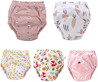 U0U Baby Toddler 5 Pack Training Pants for Boys and Girls Assortment Potty Training Underwear Cotton Waterproof Pant
