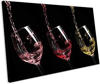 rfy9u7 Canvas Wall Art, Wine Glass Modern Kitchen Food Framed Ready to Hang Canvas Print Wall Artworks Pictures for Living Room Bedroom Decoration