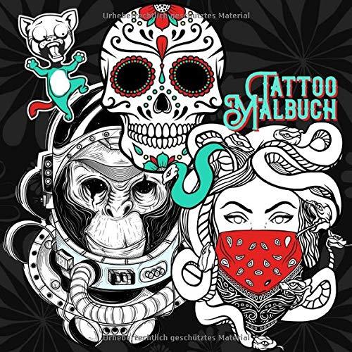 Tattoo Malbuch: high quality | Tattoo Vorlagen | old school + new school | verschiedene Künstler | Malbuch Tattoos | 90+ Designs | 21x21 cm | 90 S.