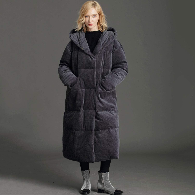 YXXHM- Winter Lange Daunenjacke, weibliche Cord dünne dünne Mode Daunenjacke