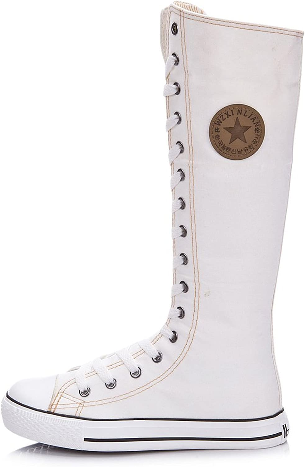 Girls' Knee High Punk Dancing Canvas Boot White, USA 5 Euro 35