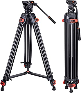 Heavy Duty Tripod Professional Video Tripod Aluminium 72inch with 360 Degree Fluid Head for Canon Nikon DSLR Camcorder Cam...