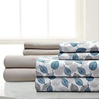 8 Piece Blue Grey Leaves Printed Sheets Cal King Set, Beige White Garden Leaf Floral Pattern Bedding Bohemian Hippie Indie Flowers Design, Shabby Chic Casual Style, Bright Bold Colors, Soft Microfiber