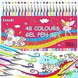 Lenski - Confezione da 48 penne gel glitterate per bambini, idea regalo per ragazze, regalo di Babbo Natale segreto per ragazze da 8 a 12 anni, penne per libri da colorare, disegnare regali di Natale
