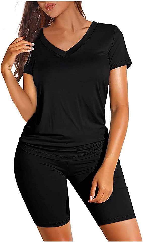 IAOUDIHV 2 Pieces Short Outfits for Women V-Neck Short Sleeve Tops Shorts Sets Suit for Workout Sport Biker Yoga Outfit