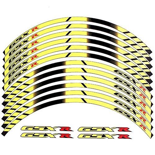 Yellow 10 X Custom Rim Decals Wheel Reflective Stickers Stripes for Suzuki GSXR Gixxer 1000 1300 600 750