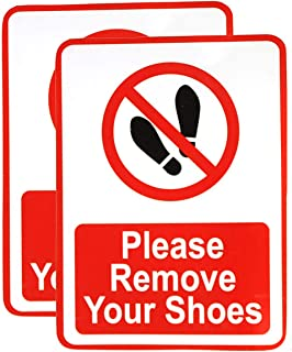 eSplanade Please Remove Your Shoes | No Shoes Allowed Sign Sticker Decal - Easy to Mount Weather Resistant Long Lasting In...