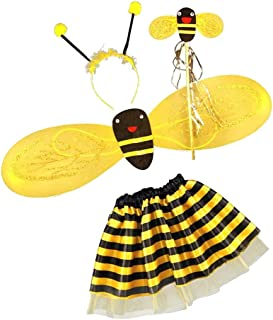 HOMYL 4Pc Bumble Bee Honey Girls Kids Fairy Halloween Fancy Dress Party Costume
