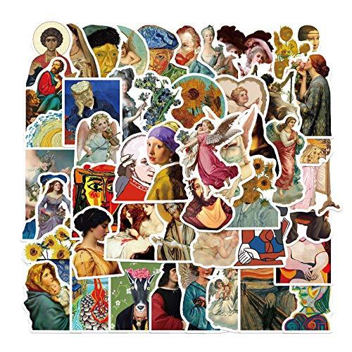 WYZNB 50 pegatinas de pintura famosa para bloc de notas, monopatín, decoración de graffiti