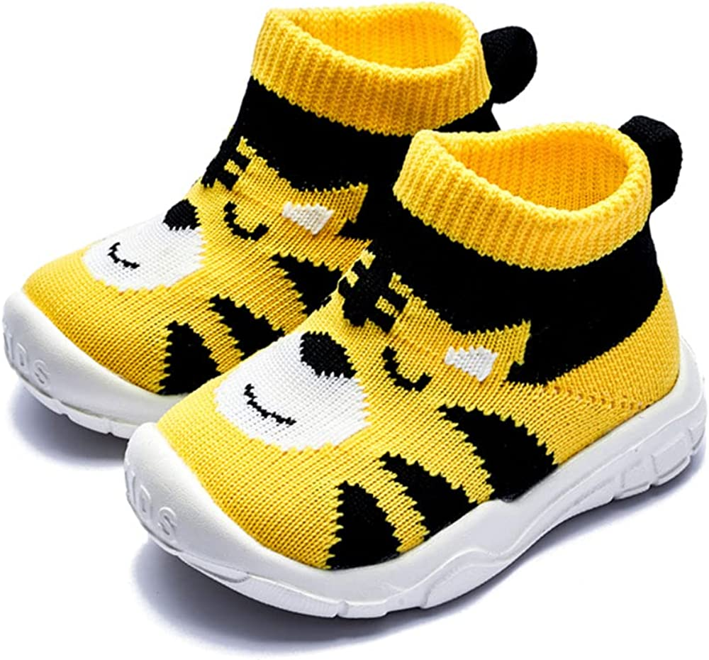 Baby Sneaker,Infant Non-Slip Soft Comforter Toddler Walkers for Boy Girls Elastic Sock Memory Insole Breathable Shoes Panda Tiger Prints American Flag Rainbow Stripe Moccasins