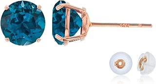 Genuine 10K Solid Rose Gold 6mm Round Natural London Blue Topaz December Birthstone Stud Earrings