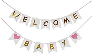 LOVELY BITON Tri-Color Welcome Baby Birthday Banner Baby Shower with Pink Heart for Kid's Happy Birthday Party Decorations