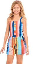 TRULY ME, Big and Little Girls' Sleeveless Spaghetti Strap Printed Spring/Summer Romper, Size 4-6X, 7-16