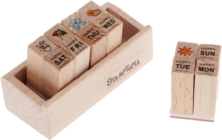 Bonarty Wood Rubber Seal Special price for a limited time Stamps Cartoon Cute shop Dia Box