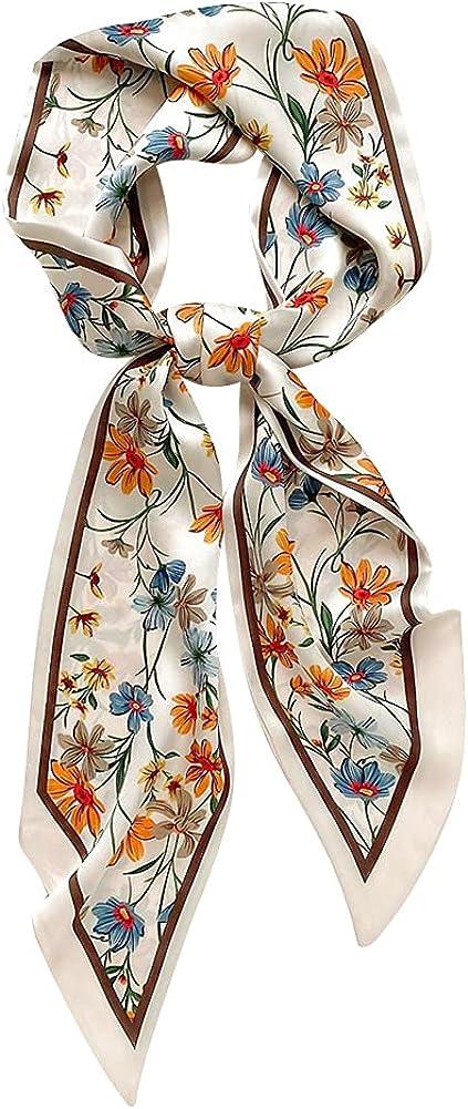 IMLECK Handbag Handle Head Hair Band Neck Silk Ribbon Scarf for Women Girls Decoration