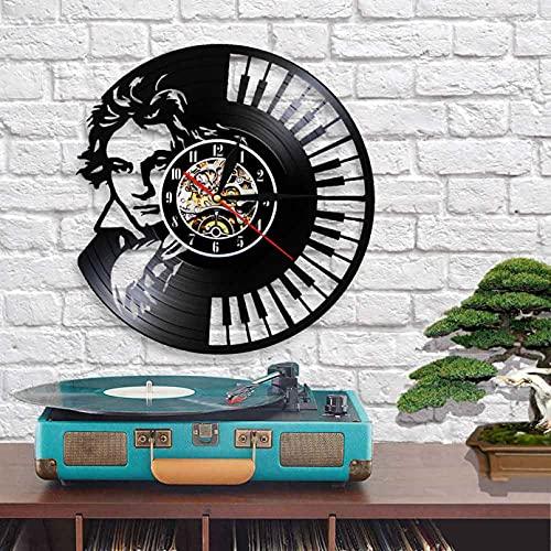 Reloj de Pared de Vinilo con Teclado de Piano de Beethoven, Arte Retro, grabación de Pared, sinfonía clásica, Regalo para los Amantes de la música, sin LED