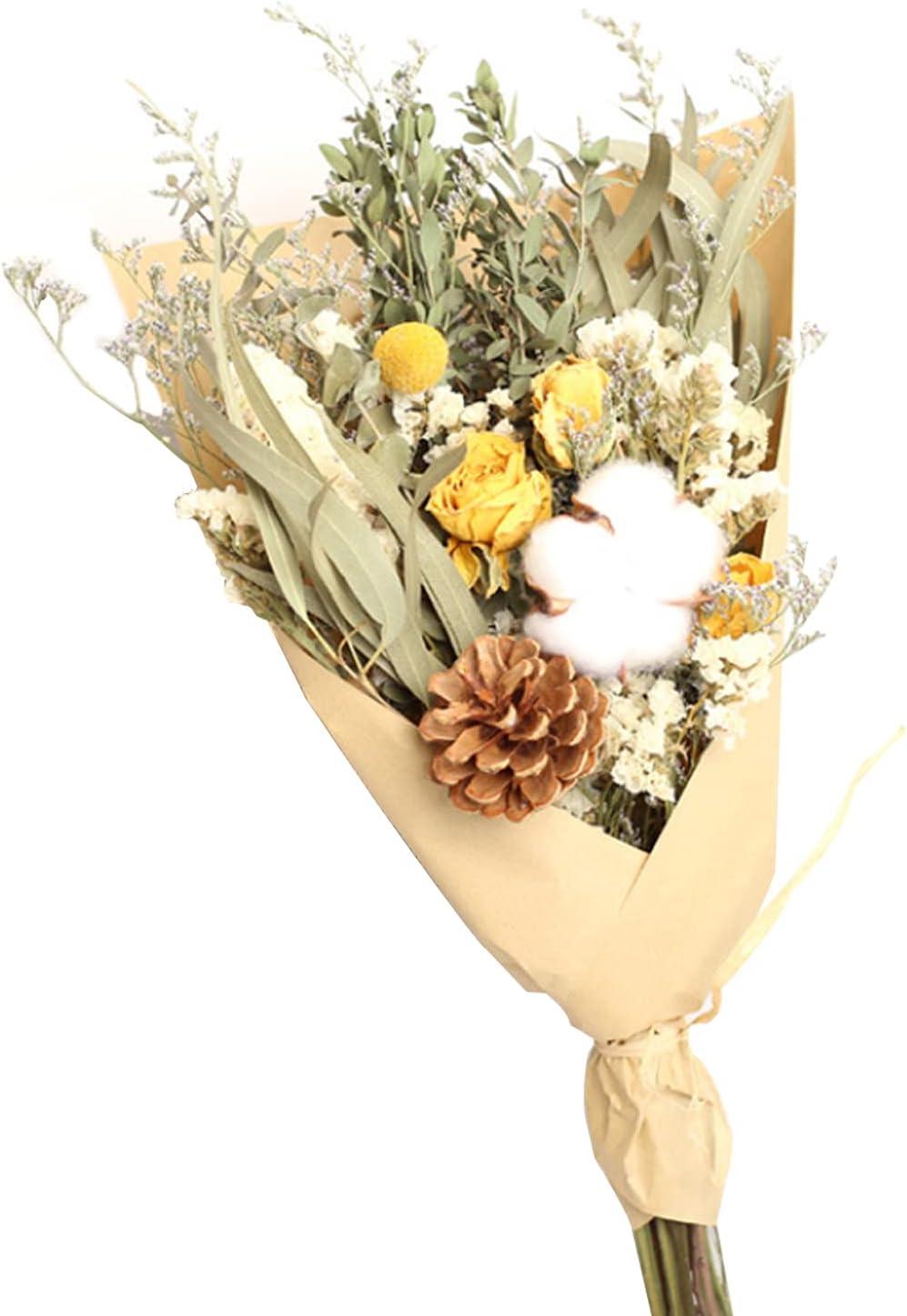 DWANCE Flores Secas Rosas Flores Secas Hoja Eucalipto Naturales Decoracion Ramos de Flores Secas Flores Ramas Pequeñas para Decorar Casa Bodas Amarillo