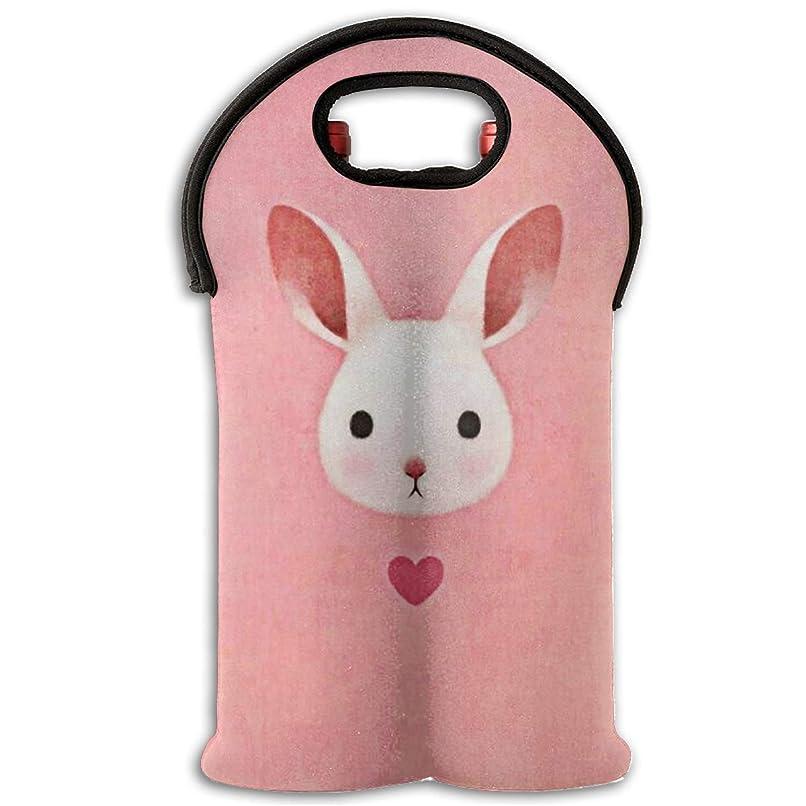 スコア塊敬なPink Rabbit ピンクのウサギ ワインバッグ ボトルバッグ 2ボトル トート ネオプレン製 短時間の保冷 保温 絶縁 割れ防止 ラッピング袋 哺乳瓶 収納袋 貯蔵容器 水で洗える ワイン アクセサリー ギフト プレゼント 贈答