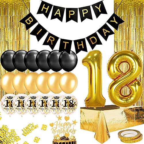 Humairc Décoration Anniversaire 18 ans Garcon Or Noir, Ballon Anniversaire Fille, 102cm Ballon Chiffre 18, Banderole Joyeux Anniversaire 2 Franges, Rideau, Nappe, Gâteau Décor, 10g confettis