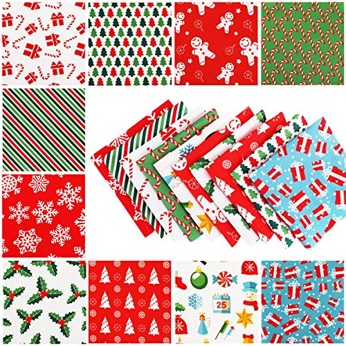Konsait 40 Pieces Christmas Fabric Multi-Color Fabric Patchwork Cotton Mixed Squares Bundle Sewing Quilting Craft, Sewing Square Fabric Scraps for Christmas DIY Sewing Quilting