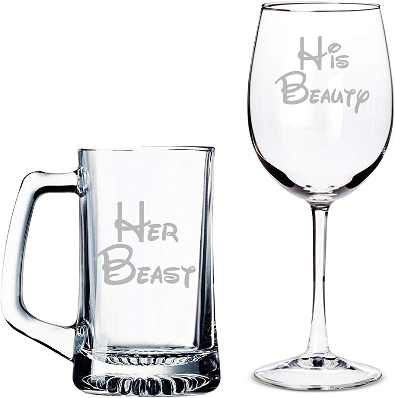Her Beast Beer Mug And His Beauty Wine Glass Set