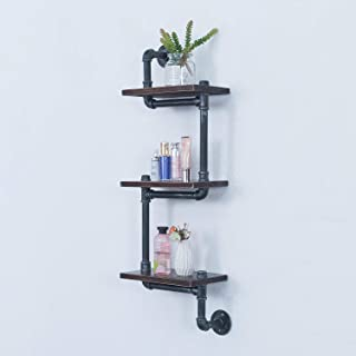 Industrial Pipe Shelves Wall Mounted,Wall Shelving Hung Shelf Hanging Shelves, Retro Wood Shelf 3 Tiers Floating Shelves,Wall Mount Rustic Bookshelf