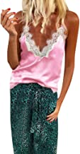 Sunmoot Women Sexy Camisole V-Neck Lace Patchwork Sleeveless Camis Tank Tops Blouse