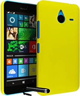 Calans Microsoft Lumia 640 XL YK Hard Back Case Cover With Screen Protector Mini Stylus - Yellow