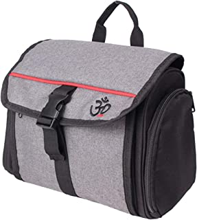 Hanging Toiletry Bag for Men Women, Travel Essentials Storage Organizer with Clear Mesh Inside, for Personal Items, Shampoo, Accessories, Cosmetics, Makeup Organizer and Shaving Kit Bag Grey Red