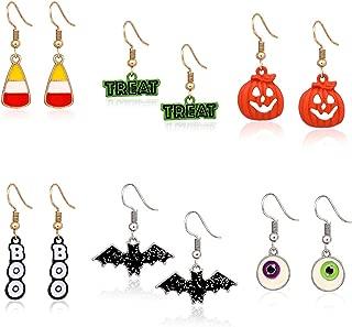 6 Pairs Halloween Hook Earrings Set Pumpkin Bat Boo Dangle Earrings Gift Jewelry Set for Girls