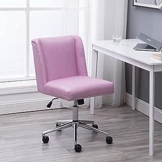 Silla de escritorio de oficina de tela rosa, acolchada gruesa, cómoda, ergonómica, para computadora en casa, oficina, altura ajustable y reclinable.