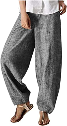 Fashion Womens Leisure Solid Color Straight Strappy Cotton and Hemp Long Pants