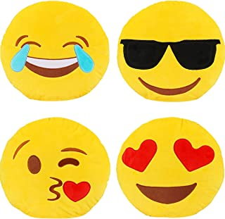 Dreampark Emoji Pillow Set, 4 Pack Smiley Pillow Emoticon Cushion Stuffed Plush Round Yellow Soft Pillow Valentines Gifts (13 inches)