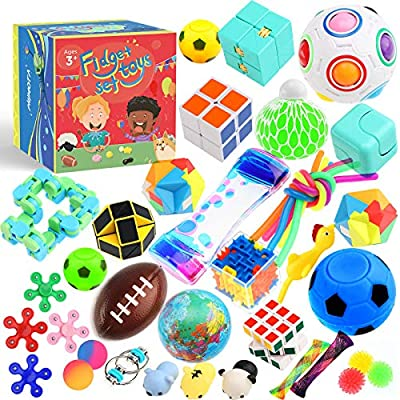 Sensory Toys Set 38 Pack, Stress Relief Fidget Hand Toys for Adults and Kids, Sensory Fidget and Squeeze Widget for Relaxing Therapy - Perfect for ADHD Add Anxiety Autism by Phimota