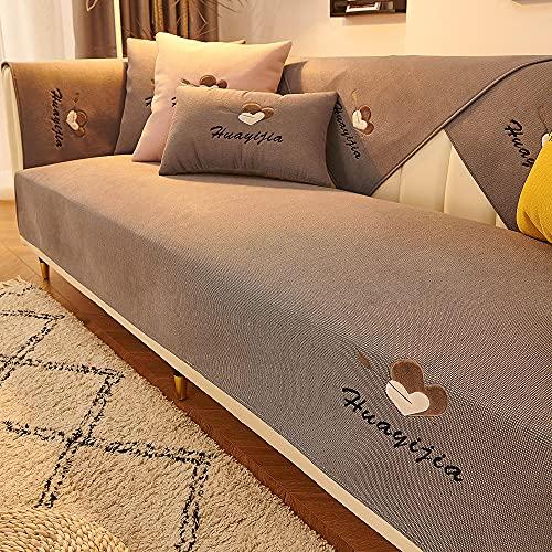 YUTJK Eros Bordados imitación de Lino Sofa Mat,Funda se Puede Empalmar de Sofá Funda para sofá Antideslizante Protector Cubierta de Muebles,Gris_90×210cm