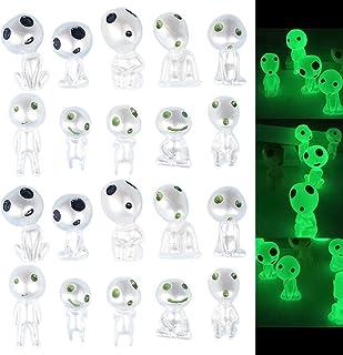 20 PCS Garden Gnome Statue Glowing in Dark, Princess Mononoke Luminous Tree Spirit Elves Dolls, Micro Jade Landscape Garde...