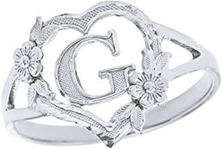 CaliRoseJewelry Silver Initial Alphabet Personalized Heart Ring - Letter G