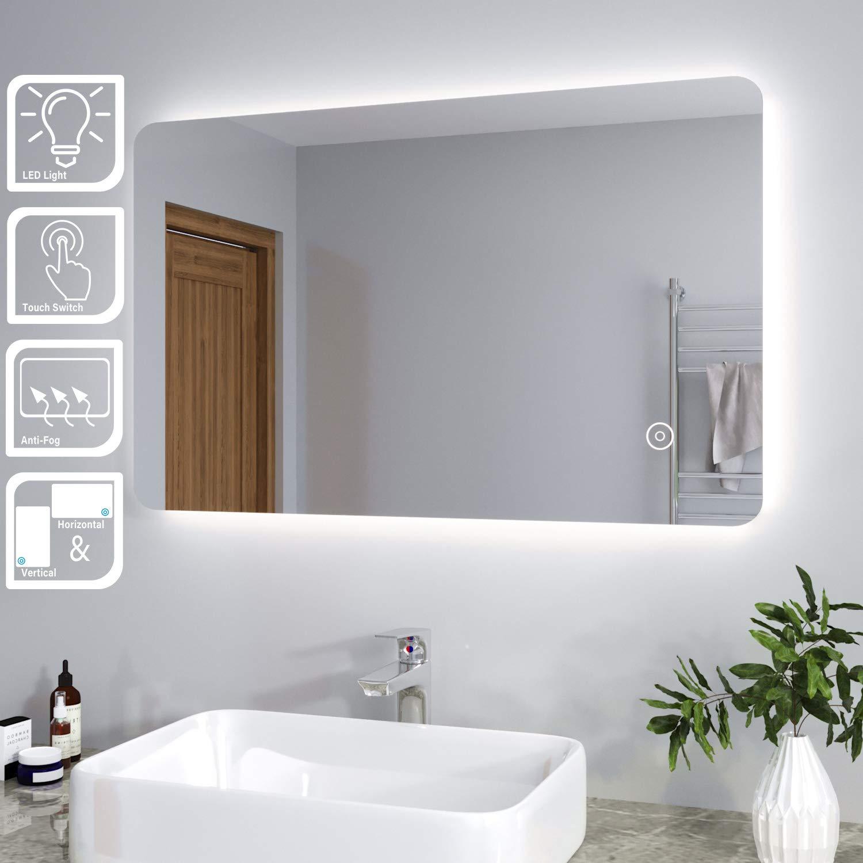Elegant 800 X 500mm Backlit Led Illuminated Bathroom Mirror With Light Sensor Demister Buy Online In Botswana At Botswana Desertcart Com Productid 213002249