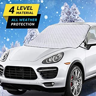 HEHUI Car Windshield Snow Cover,Car Windshield Snow Ice Cover with 4 Layers Protection,Snow,Ice,UV,Frost Defense,Extra Large Windshield Winter Cover Fits Most Cars and SUV