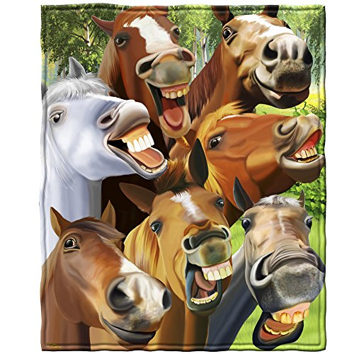 Dawhud Direct Horses Selfie Super Soft Plush Fleece Throw Blanket