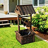 Wishing Well Water Fountains Outdoor Outside Patio Yard Decorative Wood Patio Fountain with Pump