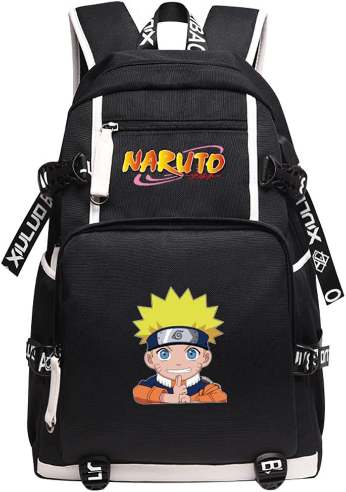 Gumstyle Naruto Book Bag with USB Charging Port Laptop Backpack Casual School Bag Blue 1